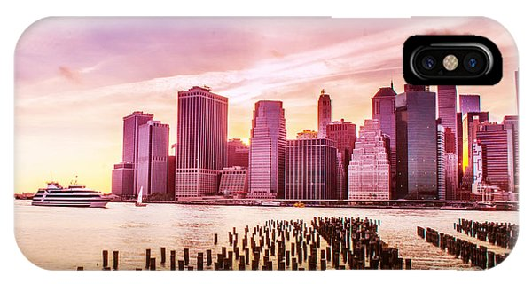 Lower Manhattan And Ferry IPhone Case