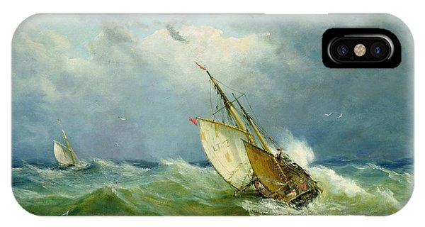 Seagull iPhone Case - Lowestoft Trawler In Rough Weather by John Moore
