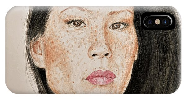 Hyper Realism iPhone Case - Lucy Liu Freckled Beauty I by Jim Fitzpatrick