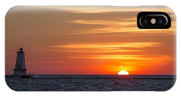 Marquette iPhone Case - Ludington North Breakwater Light At Sunset by Adam Romanowicz