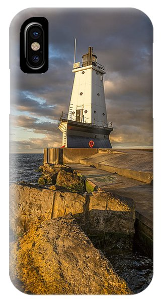 Marquette iPhone Case - Ludington North Breakwater Lighthouse At Sunrise by Adam Romanowicz