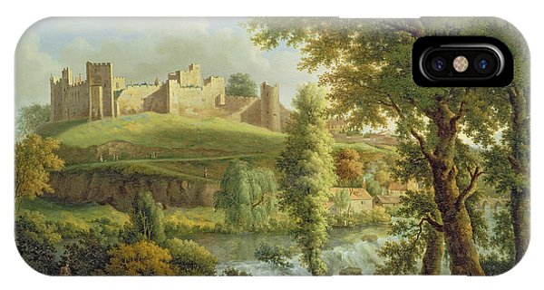 Castle iPhone Case - Ludlow Castle With Dinham Weir by Samuel Scott