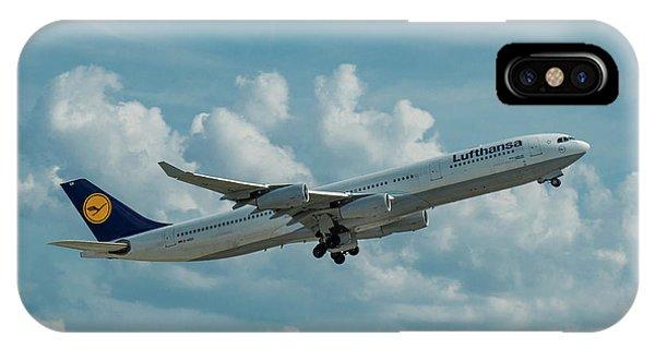 Lufthansa Airlines A Departure Airbus 340-300 D-aigo Airport Art IPhone Case
