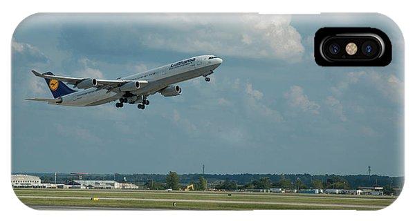 Lufthansa Airlines A Departure Too Airbus 340-300 D-aigo Airport Art IPhone Case