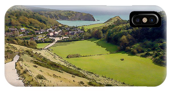 Dorset iPhone Case - Lulworth Cove Dorset From The South West Coast Path Which Leads To Durdle Door Illustration by Michael Charles