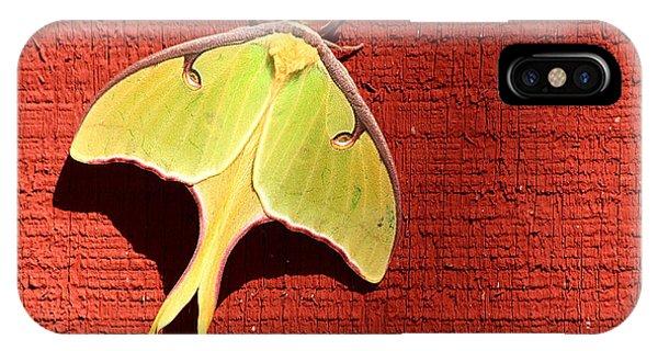 Luna Moth On Red Barn IPhone Case