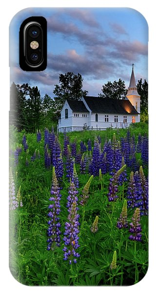 Lupines By The Church IPhone Case