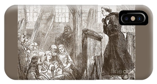 Luther Preaching In The Old Wooden Church At Wittemberg IPhone Case