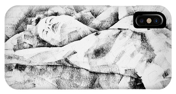 Lying Woman Figure Drawing IPhone Case