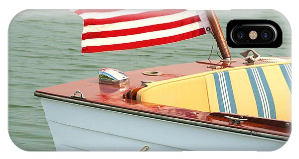Vintage Mahogany Lyman Runabout Boat With Navy Flag IPhone Case
