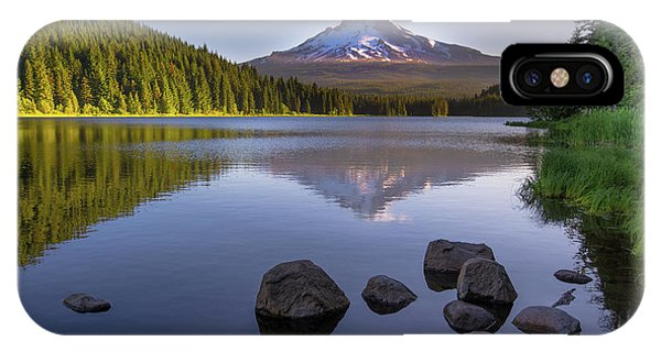 M T Hood Sunrise At Lake Trillium IPhone Case