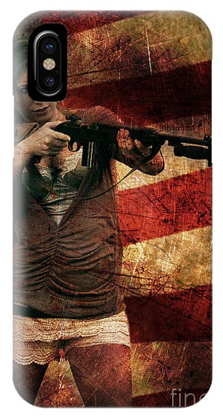 M1 Carbine On American Flag IPhone Case