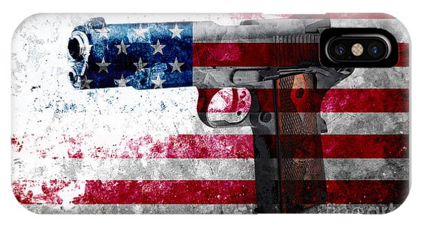 M1911 Colt 45 And American Flag On Distressed Metal Sheet IPhone Case