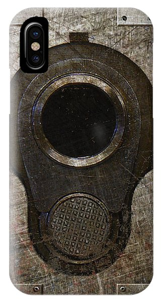 M1911 Muzzle On Rusted Riveted Metal Dark IPhone Case