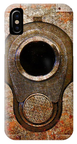 M1911 Muzzle On Rusted Riveted Metal IPhone Case