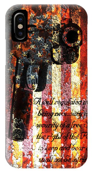 M1911 Pistol And Second Amendment On Rusted American Flag IPhone Case