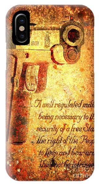 M1911 Pistol And Second Amendment On Rusted Overlay IPhone Case