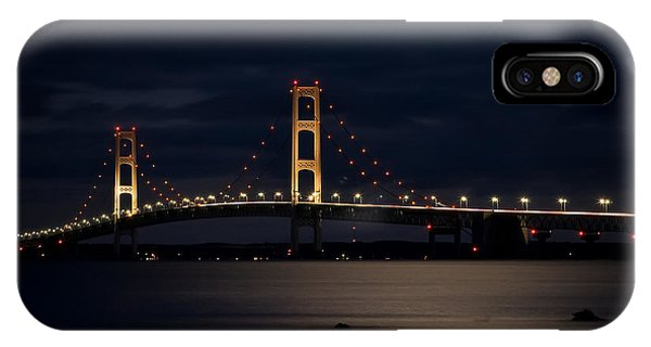 Mackinac Bridge At Night IPhone Case
