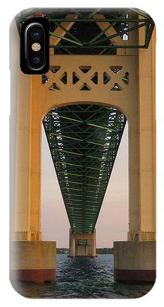 Mackinac Bridge Tower At Sunset IPhone Case