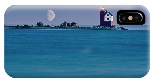 IPhone Case featuring the photograph Mackinac Moon by Dan McGeorge