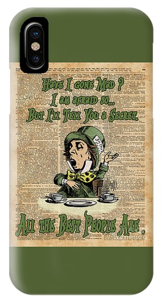 Mad Hatter,alice In Wonderland,madness Quote Vintage Dictionary Artwork IPhone Case