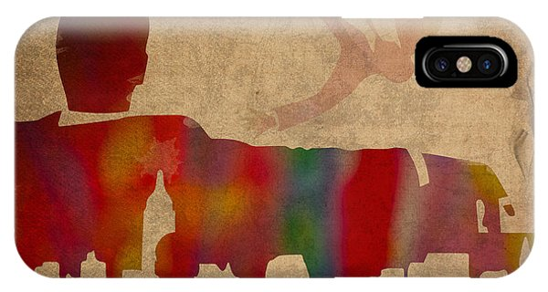Mad Men Watercolor Silhouette Painting On Worn Parchment No 4 IPhone Case