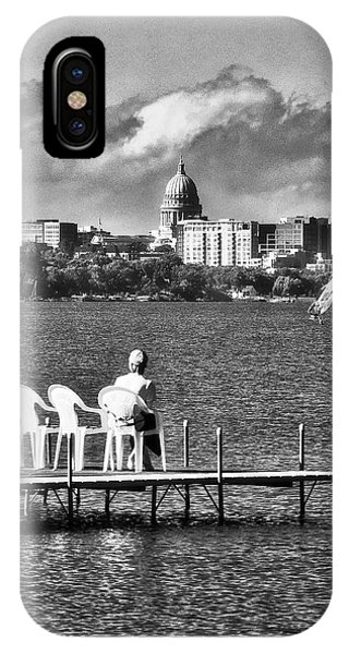Madison Capitol Across Lake Mendota - Black And White IPhone Case