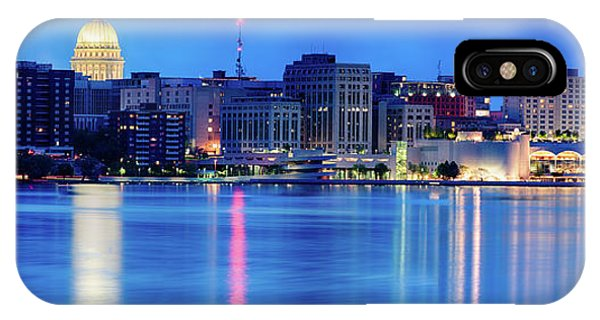 Capitol Building iPhone Case - Madison Skyline Reflection by Sebastian Musial