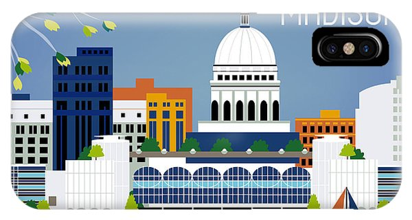 Skyscape iPhone Case - Madison Wisconsin Horizontal Skyline by Karen Young
