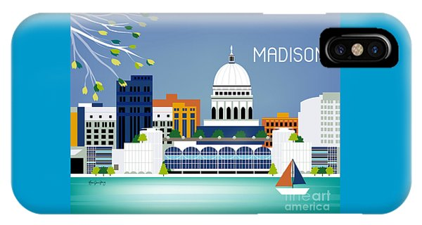 Capitol Building iPhone Case - Madison Wisconsin Horizontal Skyline by Karen Young