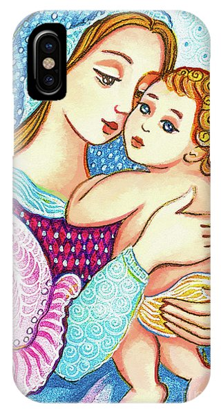 IPhone Case featuring the painting Madonna And Child In Blue by Eva Campbell