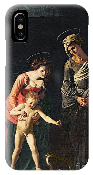 Mary Mother Of God iPhone Case - Madonna And Child With A Serpent by Michelangelo Merisi da Caravaggio