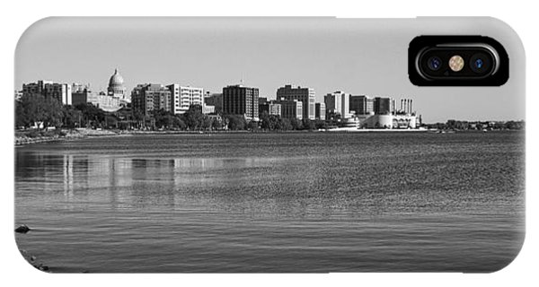 Madison Skyline From John Nolan Drive - Black And White IPhone Case