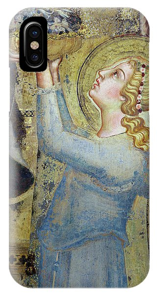 Martini iPhone Case - Maesta  Angel Offering Flowers To The Virgin by Simone Martini
