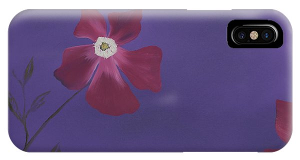 Magenta Flower On Plum Background IPhone Case