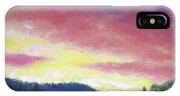 Magenta Sunset Oil Landscape IPhone Case