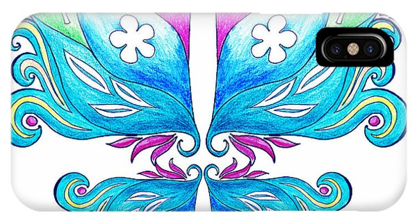 Pastel Pencil iPhone Case - Magic Floral Butterfly Baby Blue by Irina Sztukowski