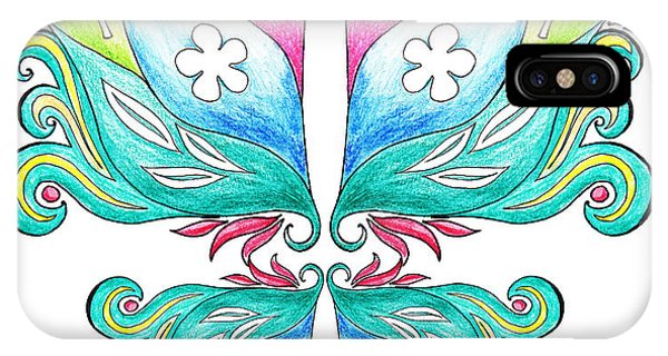 Pastel Pencil iPhone Case - Magic Floral Butterfly Baby Pink by Irina Sztukowski