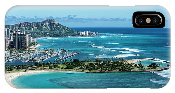 Helicopter iPhone X Case - Magic Island To Diamond Head by Sean Davey