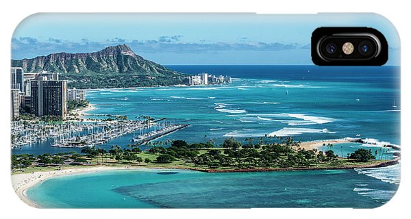 Helicopter iPhone Case - Magic Island To Diamond Head by Sean Davey