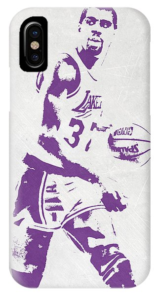 Ball iPhone Case - Magic Johnson Los Angeles Lakers Pixel Art by Joe Hamilton