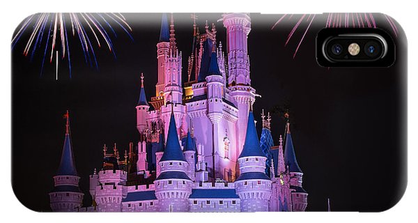 Magic Kingdom Castle Under Fireworks Square IPhone Case