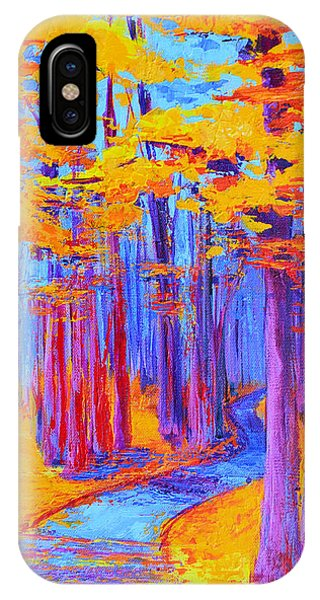 IPhone Case featuring the painting Magical Path - Enchanted Forest Collection - Modern Impressionist Landscape Art - Palette Knife Work by Patricia Awapara