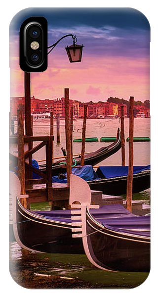 Gondolas And Cityscape At Sunset In Venice, Italy IPhone Case