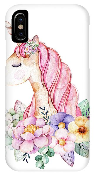 Floral iPhone X Case - Magical Watercolor Unicorn by Lisa Spence