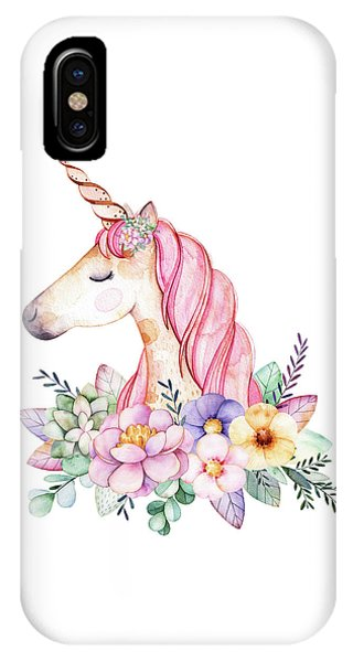 Mythological Creature iPhone Case - Magical Watercolor Unicorn by Lisa Spence