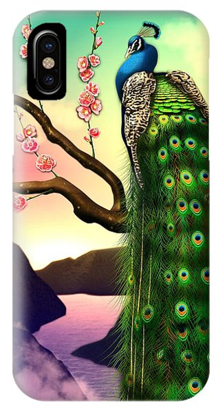 Magnificent Peacock On Plum Tree In Blossom IPhone Case