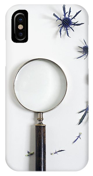 Magnifying Glass And Blue Thistle IPhone Case
