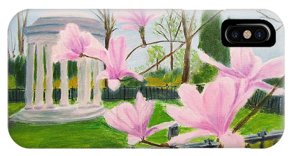 IPhone Case featuring the painting Magnolia Blossoms At Wagner Park by Linda Feinberg