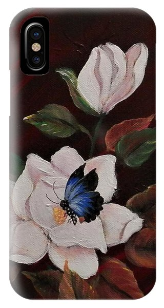 Magnolia With Butterfly IPhone Case